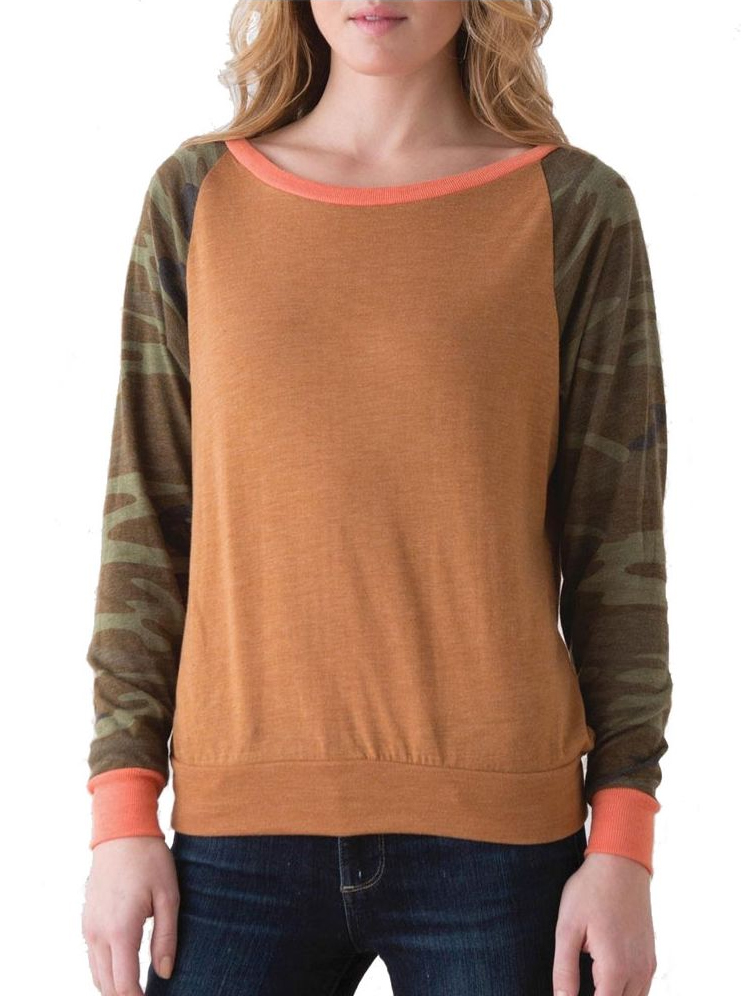 Alternative Locker Room Slouchy Print Pullover - Camo - Large