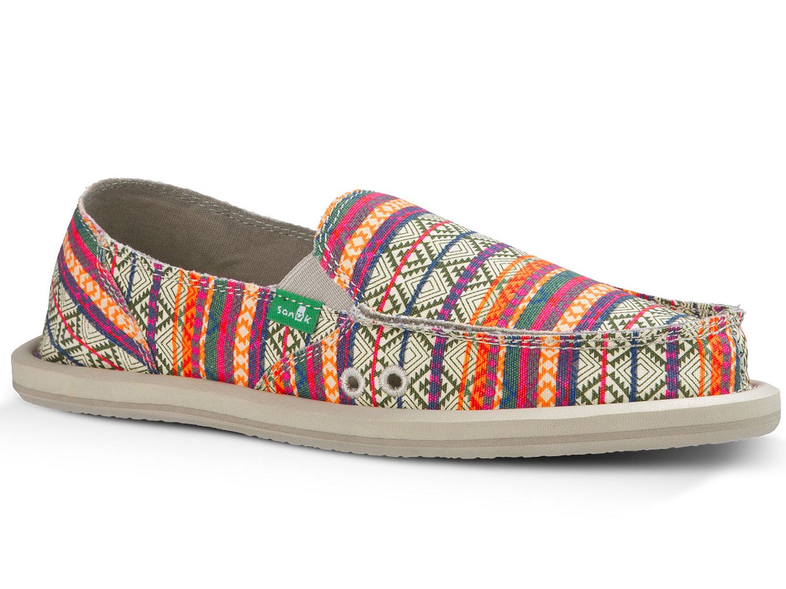Sanuk Women's Donna Tribal Shoe - Olive/Multi Tribal Stripe - 6
