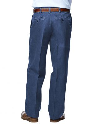 Haggar - Men's Work to Weekend Pleated Front Denim Pants ...