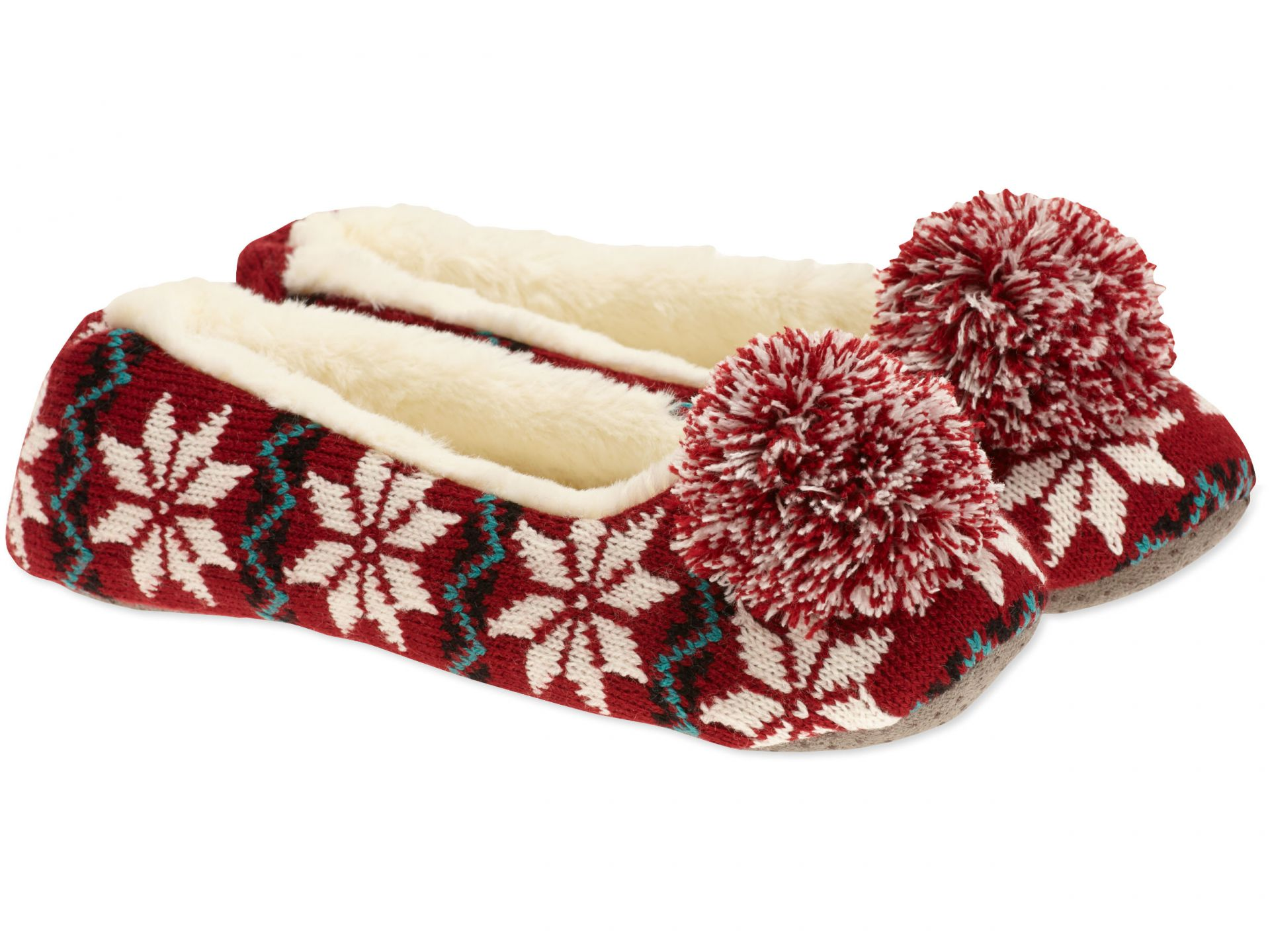 Life is Good Women's Holiday Knit Ballet Slippers - Rich Red - Large