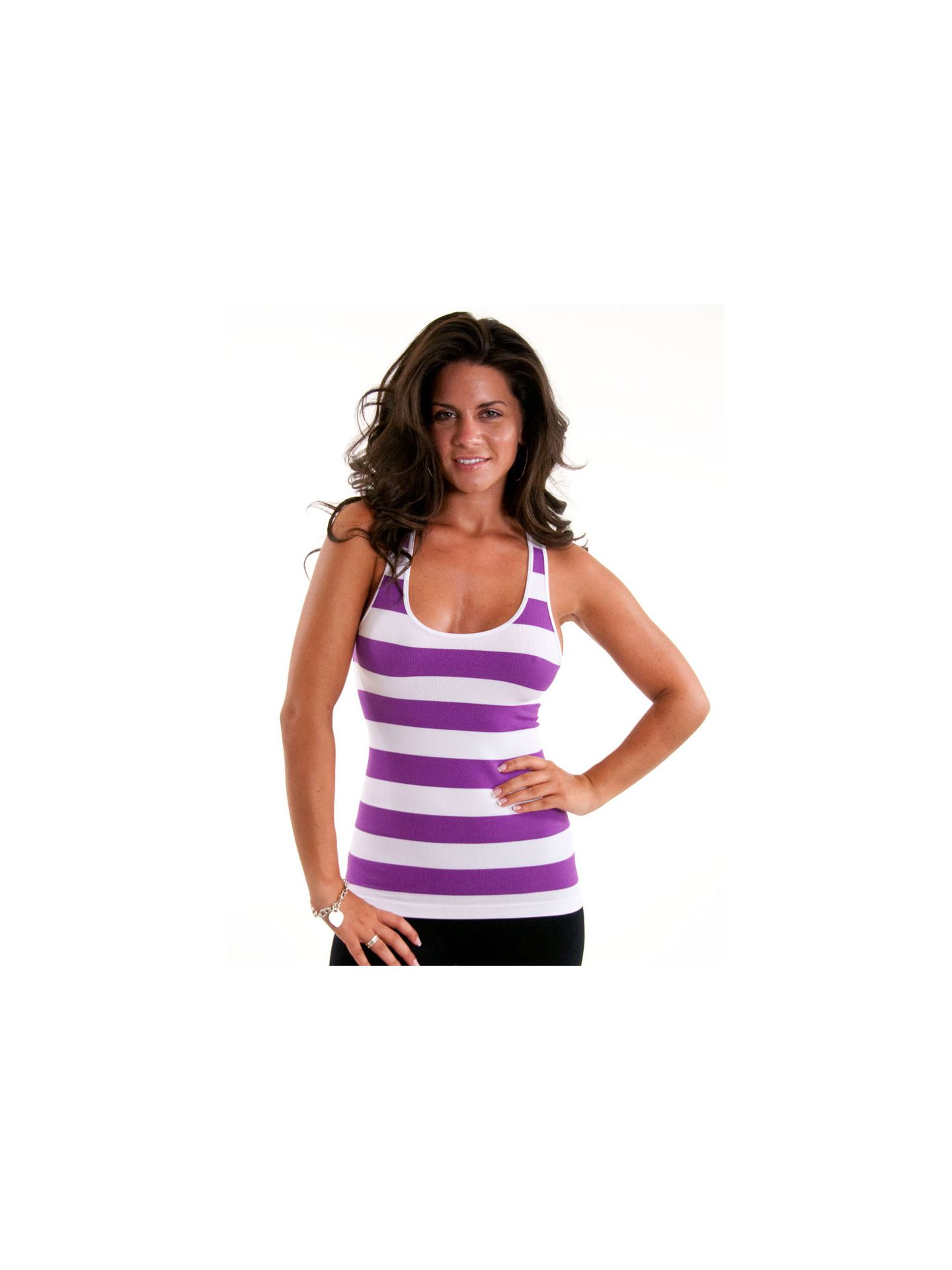 Sugarlips Seamless Striped Racerback Tank Tops - Neon Purple - One-Size
