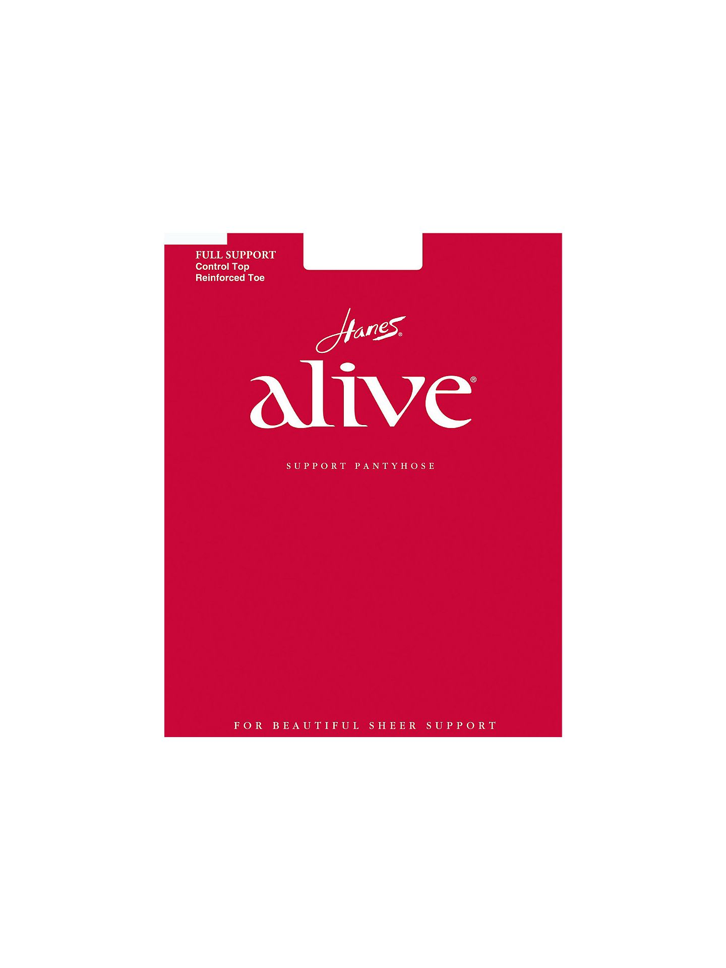 Hanes Alive Full Support Control Top Reinforced Toe - White - A