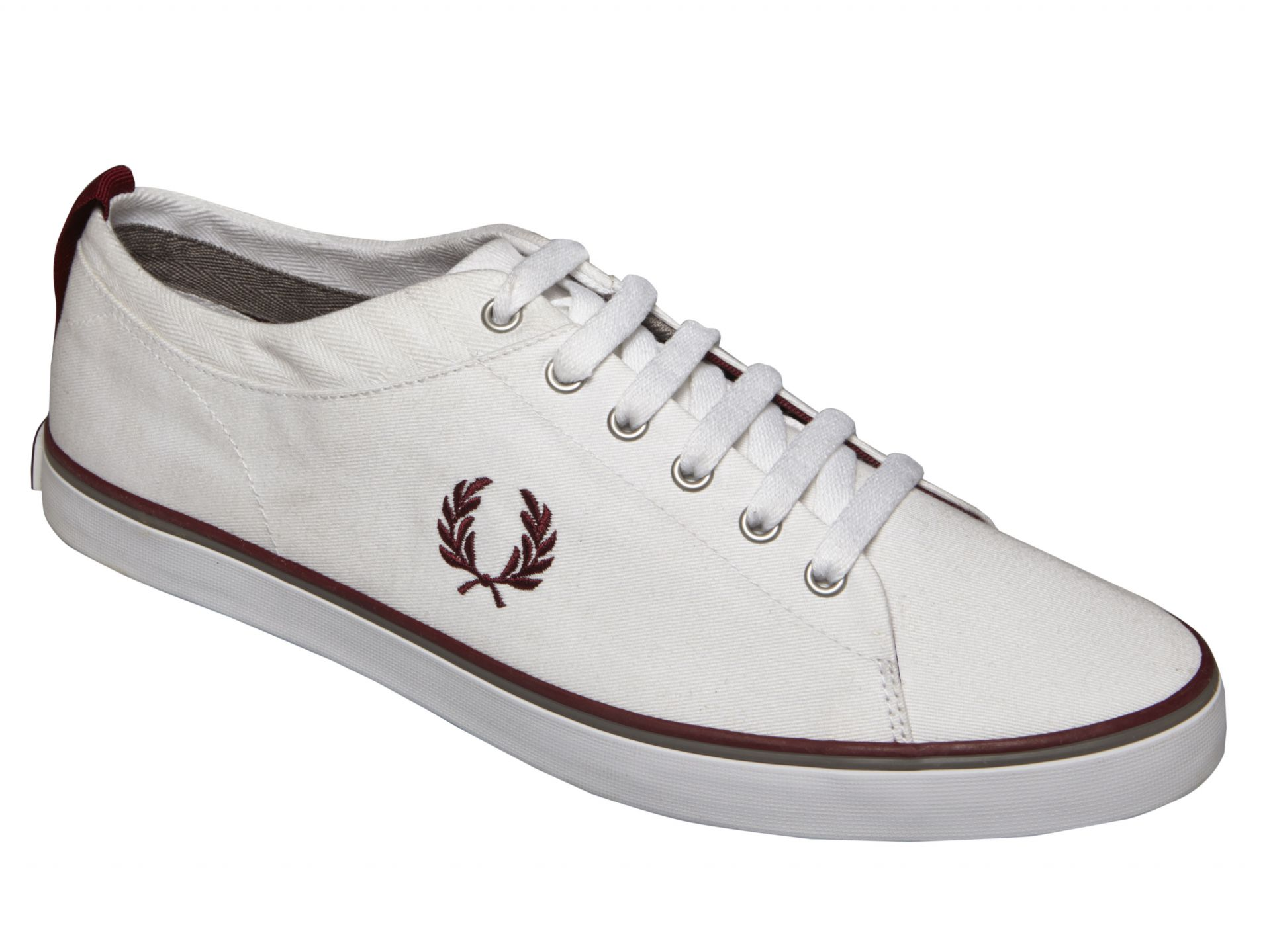Fred Perry Men's Hallam Canvas Tennis Shoe - White - 7.5