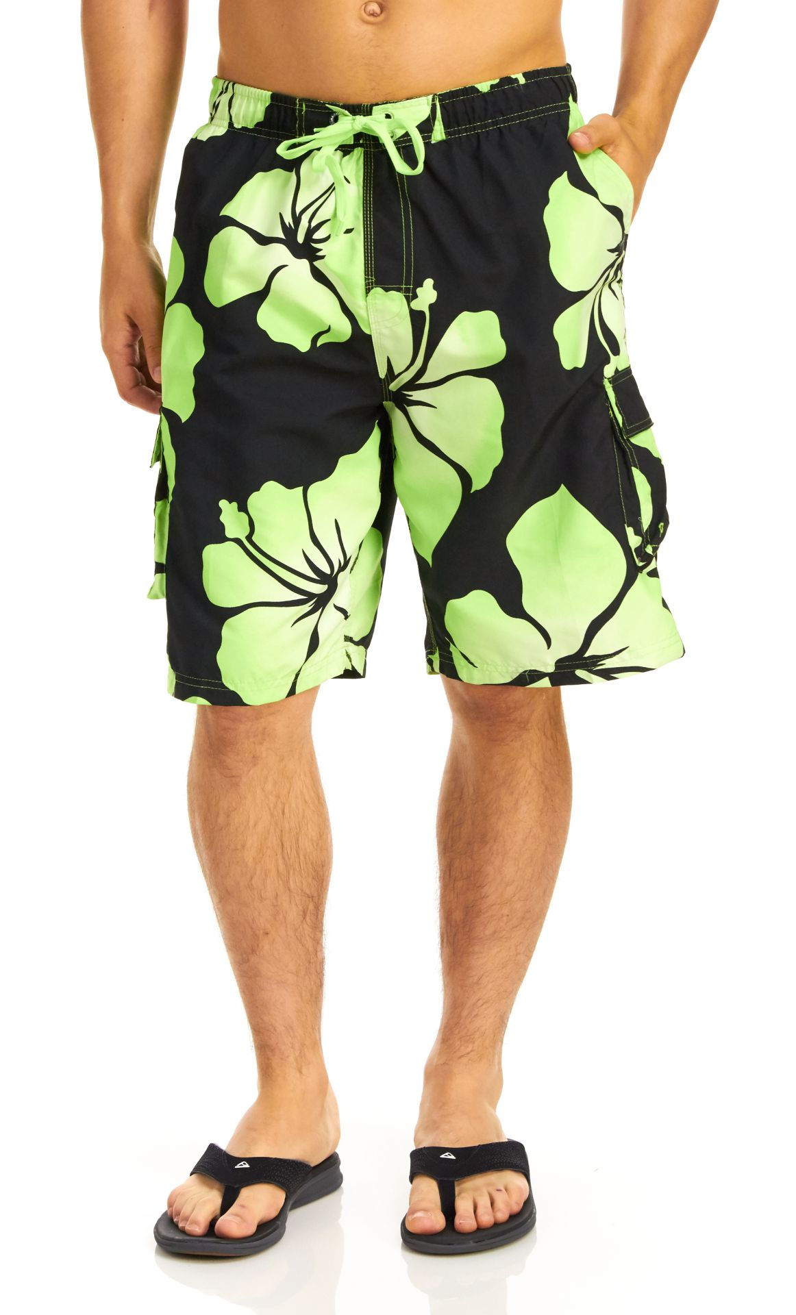 Panama Jack Men's Floral Boardshort - Black/Lime - Small