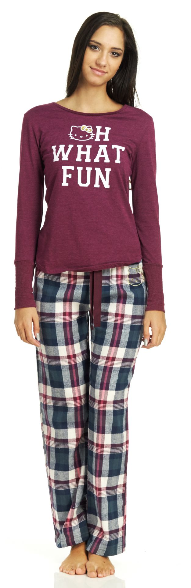 Hello Kitty Mixing Fun Long Pajama Set - Maroon - Small