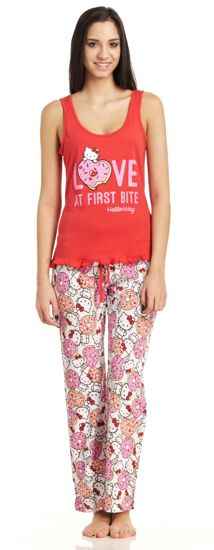 Hello Kitty Love At First Bite Tank Top/Pants Pajama Set - Red