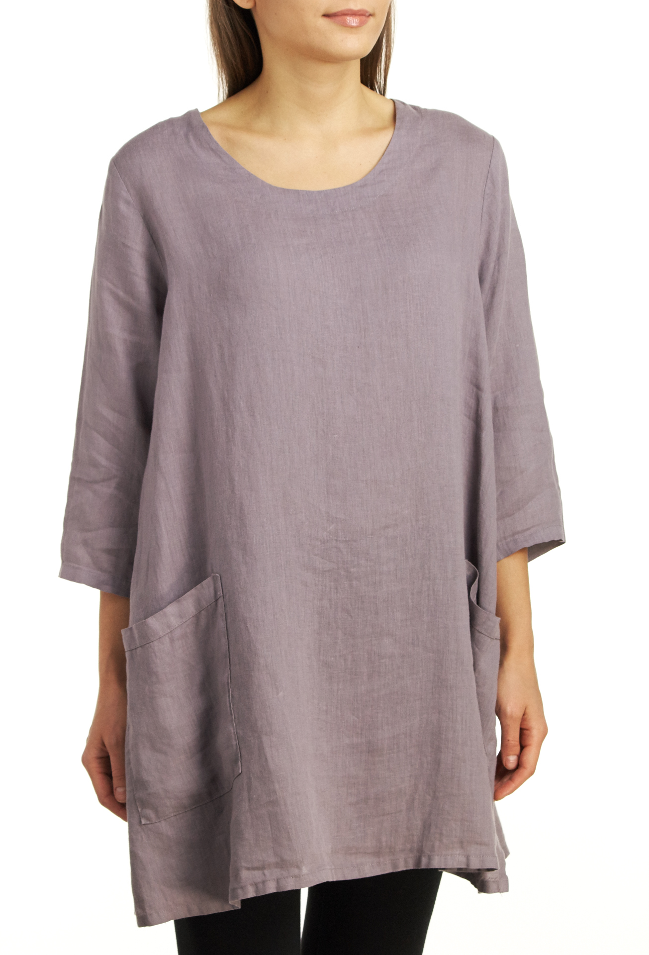 Match Point Women's Linen Pullover Tunic Top - Lavender - Small