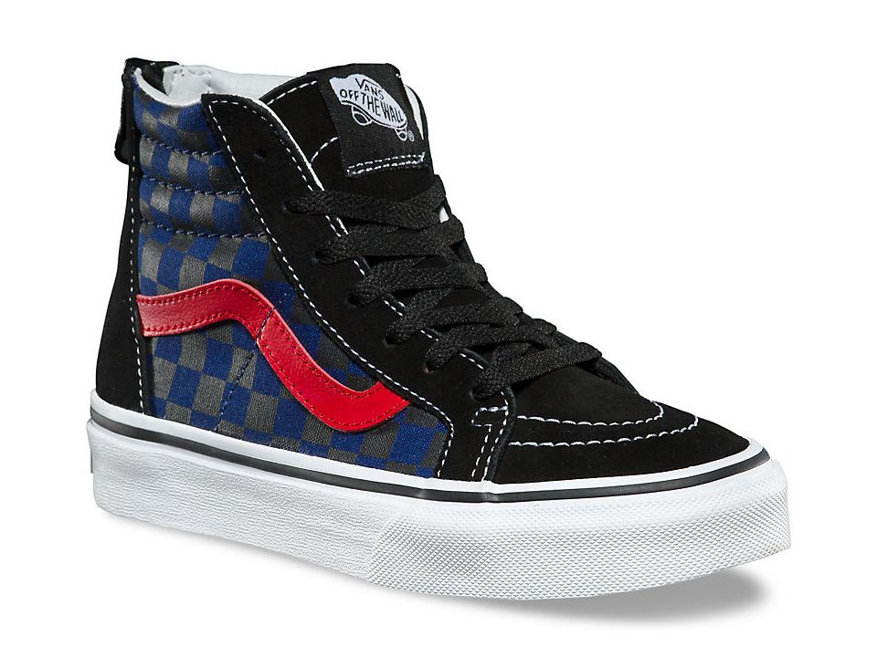 57de65283e Product Information. Your little one will love the classic skate style of  the Vans Little Kid Big Kid Sk8-Hi Zip Checkerboard ...